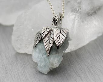 aquamarine necklace, raw aquamarine, silver necklace, leaf necklace, sterling silver, hand carved pendant, raw jewelry, march birthstone