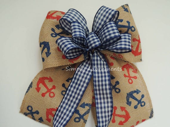 Nautical Anchor Burlap Bow Red Navy Nautical Shower Party decor Nautical Anchor Birthday Party Decor Nautical Weath Bow Handmade gift Bow