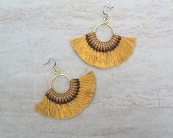 Tassel Hoop Earrings Gold Festival Tassel Earrings Tassle Earings BOHO Chic Earrings Gypsy Tassle Jewelry Trending Now Wholesale Jewelry