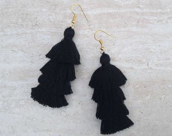 "Black Tassel Earrings Layered Black Tassle Earrings Tassel Drop Earrings Summer Jewelry 3"" Tassel Earrings"