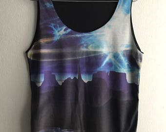 Mountain sky river landscape colour tank top