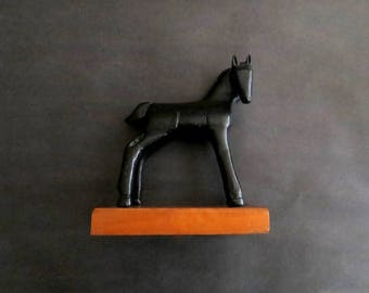 Charming Vintage Folk Art Hand Carved Black Horse Foal