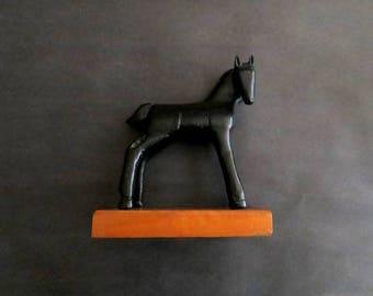 Charming Vintage Folk Art Hand Carved Black Horse Foal