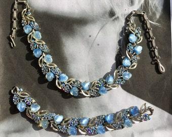 Vintage Blue Necklace Earrings 1950 1960 Lisner Bridal Wedding Molded Art Glass AB Aurora Borealis Rhinestone