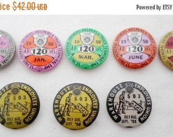 ON SALE Vintage A.F. Of L Pin Back Buttons, Union Pin Back Buttons, Tin, 1949-1951,  St Paul Mn, #120, Pins, Advertising, Union Worker, Coll