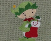 Elf Sewing Christmas Stocking Waffle Weave Towel - green mist