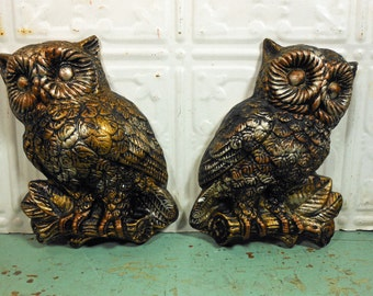 Pair of Vintage Chalkware Owls, Gold and Silver Plaster Owl Wall Hangings