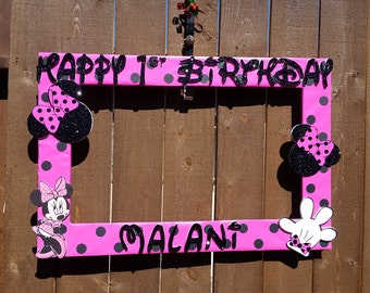 Hot Pink with Black Dots Minnie Mouse Themed Party Photo Prop Frame
