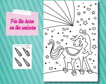 Pin the horn on the Unicorn Printable