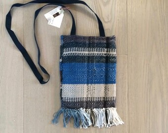 Handwoven Wool Cross Body Bag in Blue