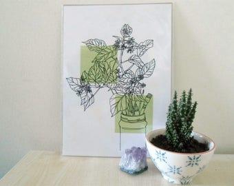 post it note plant art print