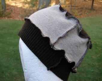 Upcycled repurposed wool sweater hat tan & brown beanie