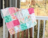 Baby Rag Quilt- Ready to ship Rag Quilt, Pink Rag quilt, Happy Rag quilt, Teal Rag quilt, Colorful rag quilt, Pink rag quilt