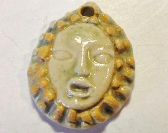 Artisan handmade ceramic pendant face charm zen