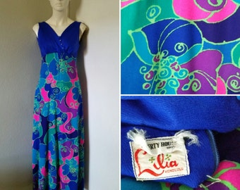 Vintage Liberty House Lilia Honolulu maxi dress form fitting body con dress psychedelic print Hawaiian gown