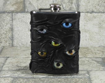Monster Flask With Eyes 8 Ounce Black Leather Goth Horror Groomsman Gift Fathers Day Gift One Of A Kind