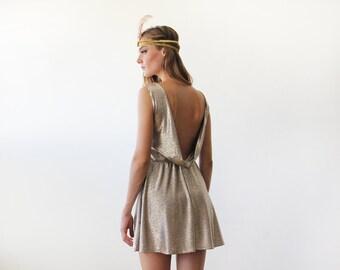 Backless mini sleeveless golden dress, Metallic gold party dress 1133