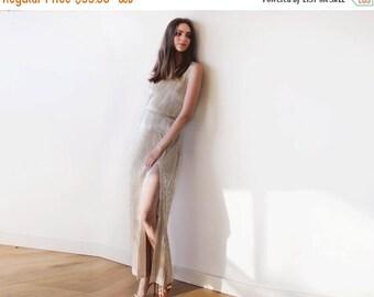 30% OFF - Blush Birthday Metallic Gold pleated maxi dress, Gold maxi sleeveless gown, Glamorous party dress 1073
