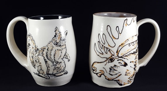 Moose & Squirrel Mug XL, pictured front and back