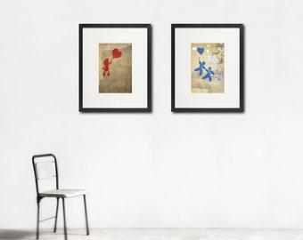 Balloon Art, Kid's Room Art, Adventure, Children's Decor, Hearts, Large Wall Art, Set of Two