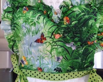 Butterflies on Green Print Kitchen Oven Door Dress Towel with Ruffles