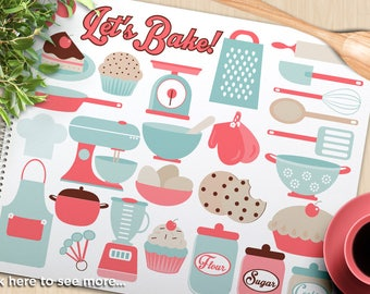 Lets Bake / Kitchen Utensils clipart, food scale, wooden spoon, pots and pans, apron, electric mixer, cookie jar, Vector, SVG, cooking, chef