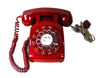 "Vintage Red Telephone - Red Retro Dial Telephone, Mid Century Dial Phone, 1960's Red Dial Phone, Red ""Mad Man"" Phone, Red Prop Phone"