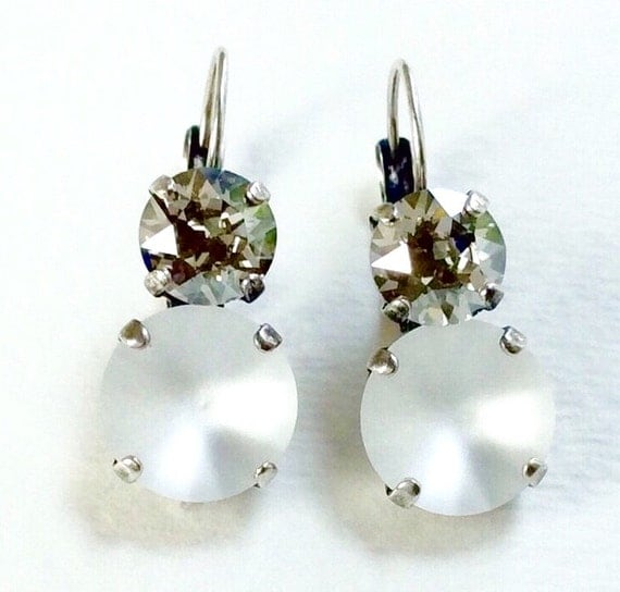 """Swarovski Crystal 12MM/8.5mm Drop Earrings - """" Moon Glow """" - Crystal Matte & Silver Shade - Pure Sophistication     FREE SHIPPING"""