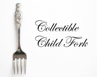 "Vintage, Child Size Fork by Royal Doulton, Bunnykins ""Growing Up"" Pattern, Figural Flatware, Replacement Flatware, Collectible - ca. 1981"