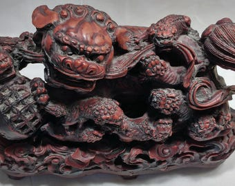 Chinese Foo Lion Foo Dog Intricate Design 8 Cubs Sphere Rattle Ball Cinnamon Resin Statue Figurine Stand Vintage 1980's Chinese Collectible