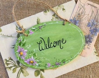 Hand Painted Wood Welcome Sign, Door Welcome, Door Hang Sign, Housewarming Gift