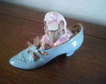 Vintage Blue Shoe - The Old Woman Who Lived In A Shoe - Beatrix Potter - Vintage Nursery Rhyme - Beatrix Potter Figurine