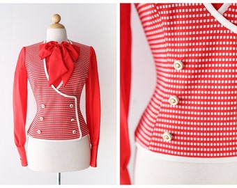 Retro Red and White Checkered Blouse with Bow - Vintage 1960's Secretary Blouse - Size Small