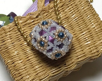 Purple Ball Necklace Beaded Ball Necklace WWhite Ball Necklace Beaded Ball Pendant White Beaded Pendant Beadwork Pendant Beadwoven Pendant