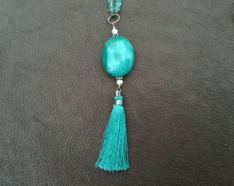 Turquoise and Apatite Tassel Necklace