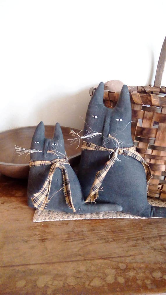 Pair Of Primitive Mama And Baby Black Cats Shelf Sitters Rustic Decor