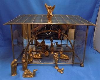 Vintage Nativity Set 13 Pcs Brass Glass Mini Christmas Set Brass Figures / Glass And Brass Manger Vintage Nativity Set Free Shipping