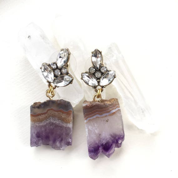 Statement earrings raw amethyst purple stone diamond rhinestone glamorous studs