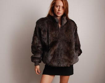 80s XL gray rabbit fur winter jacket coat with shoulder pads unisex mens and womens vintage