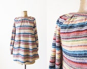 70s blouse / striped blouse / 1970s boho surf women peasant top / off the shoulder / vintage multicolor stripe top small medium