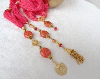 Cany Pink Jewelry Scarf,Turkish Silk Scarf,Turkish Jewelry,Gold Necklace,Elegance Scarf,Summer Fashion,Gift for Him,Mother's Day Gift