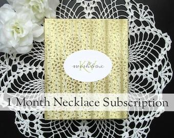 Necklace Subscription Box - Surprise Necklace Box 1 Month Subscription - KV Wishbox