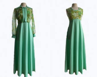 "Vintage 70s sage green dress & floral chiffon bolero set/ ""Secret Garden"" empire waist dress set"