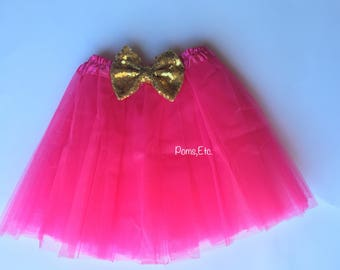 Girls Tutu with sequin bow/ tutu gold bow/ smash cake session/ birthday tutu/ first birthday/ skirt with sequin bow/ glitter bow/ hot pink