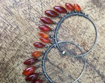 Orange Citric Carnelian Stone on Sterling Silver . Rustic Artisan Boho Hoops . Summer Jewelry . Rustic Sterling Silver earrings . gypsy