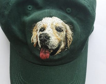 Custom pet portrait, embroidered hat, personalized thread painting, baseball cap