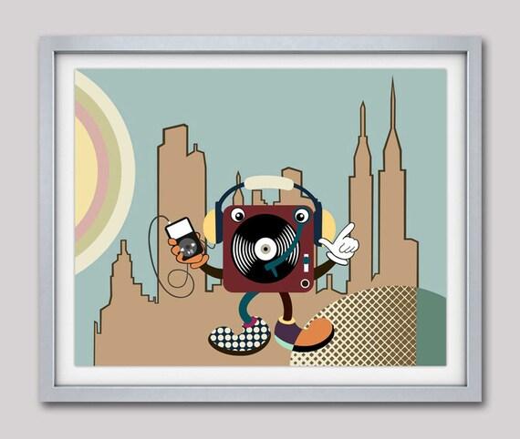 Music Art, Music Poster, Music Decor, Music Gift, Vinyl Print, Music Wall Art Decor, Cartoon Art, Cartoon Painting