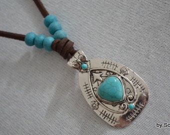 Brown leather necklace with turquoise pendant