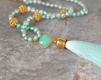 Natural chrysoprase and aqua silk tassel necklace Sophisticated aqua freshwater pearl necklace Gemstone tassel pendant