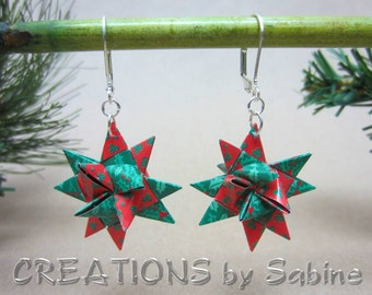 Origami Star Earrings Origami Silver Tone Metal  Christmas Green Red Holly Berries Holidays Traditional Froebel Stars READY TO SHIP (16)